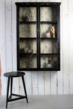 Wall Mounted Distressed Black Display Cabinet With Botanical Lining
