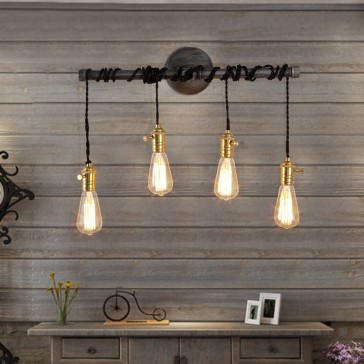 4-Light Plumbing Pipe Hanging Exposed Bulbs