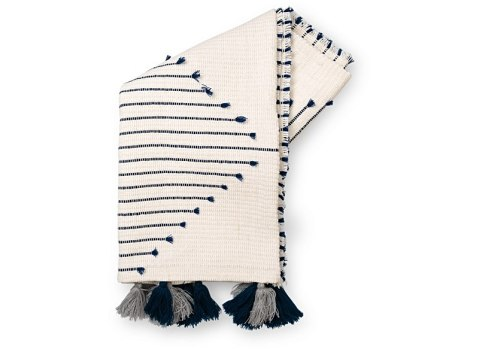 Navy Chevron Throw With Tassels
