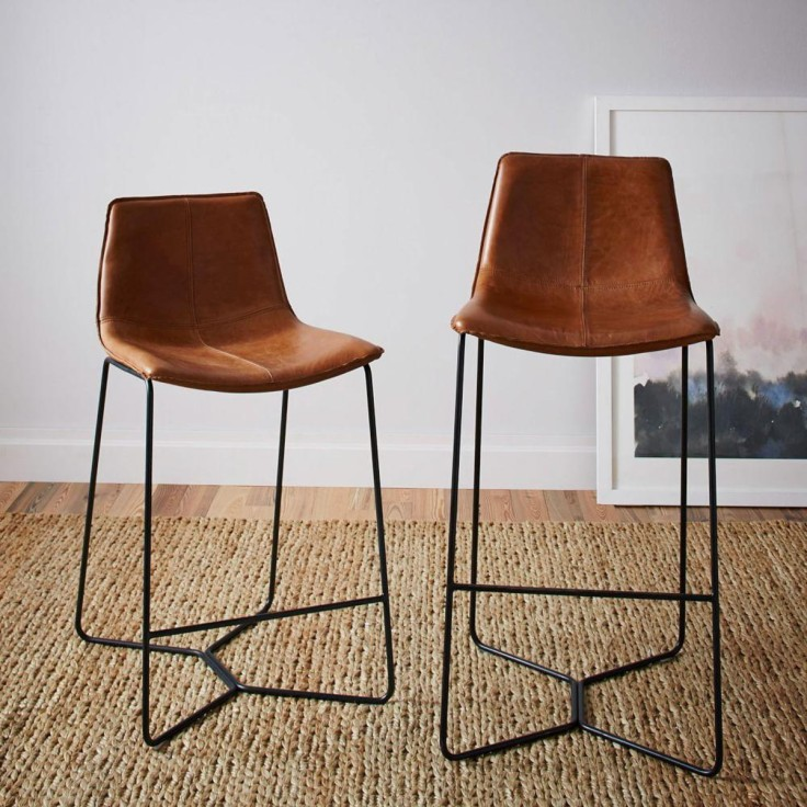 Slope Leather Bar Stool